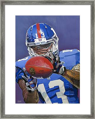 Odell Beckham Jr. Catch New York Giants Framed Print by Michael Pattison