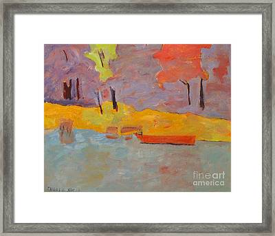 Of What Shade Of Purple Does My Boat Reflect Framed Print by Charlie Spear