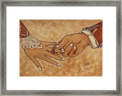 Marriage Proposal Framed Print featuring the painting Offering Engagement Ring by Georgeta  Blanaru