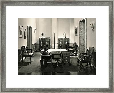 Office Interior Framed Print by Underwood Archives