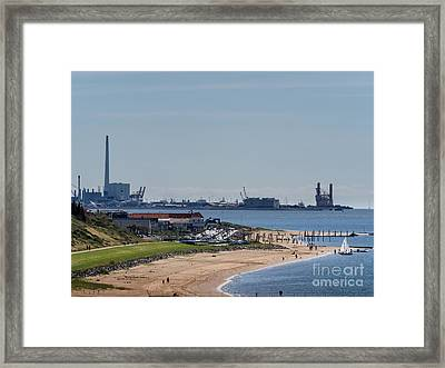Offshore Harbor In Esbjerg Seen Form Hjerting Framed Print by Frank Bach