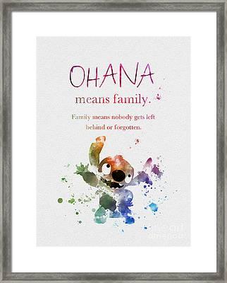 Ohana Means Family Framed Print by Rebecca Jenkins