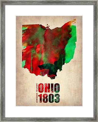 Ohio Watercolor Map Framed Print by Naxart Studio