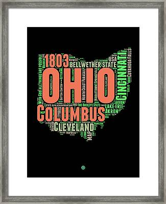 Ohio Word Cloud Map 1 Framed Print by Naxart Studio