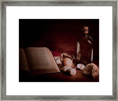 Oil And Garlic Bread Framed Print by Levin Rodriguez