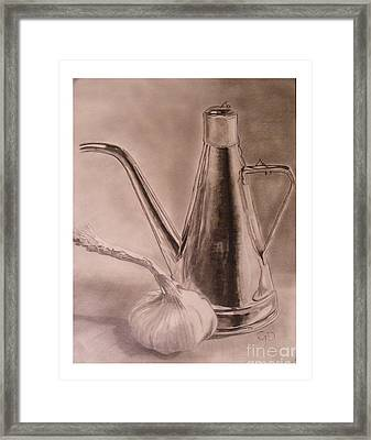 Oil Container And Garlic Framed Print by Crispin  Delgado