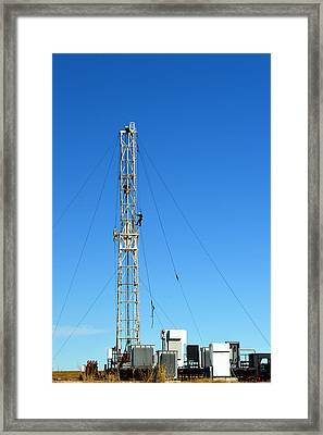 Oil Field Man At Work - Photography Framed Print by Ann Powell
