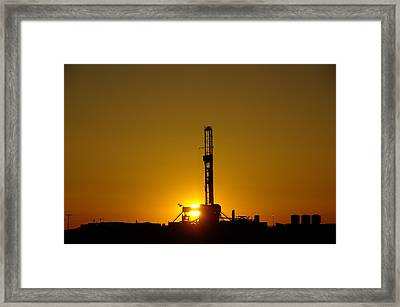 Oil Rig Near Killdeer In The Morn Framed Print by Jeff Swan