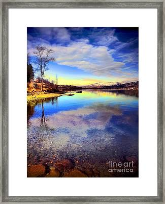 Okanagan Lake In The New Year Framed Print by Tara Turner