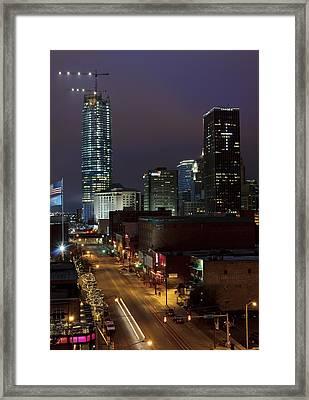 Okc Evening Framed Print by Ricky Barnard