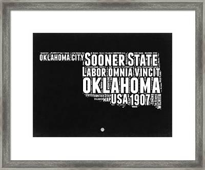 Oklahoma Black And White Map Framed Print by Naxart Studio