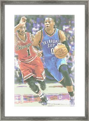 Oklahoma City Thunder Russell Westbrook Framed Print by Joe Hamilton