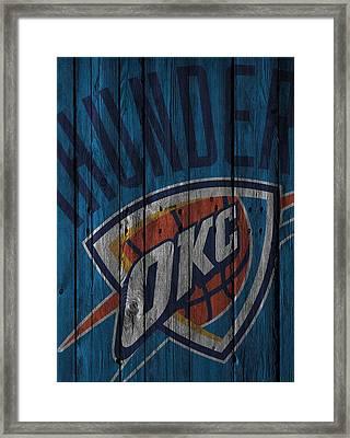 Oklahoma City Thunder Wood Fence Framed Print by Joe Hamilton