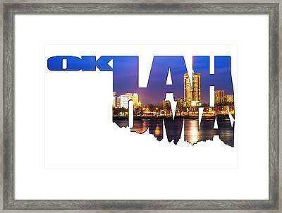Oklahoma Typographic Letters - Riverside View Of Tulsa Oklahoma Skyline Framed Print by Gregory Ballos