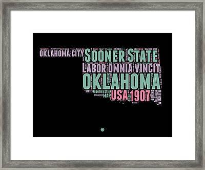 Oklahoma Word Cloud 1 Framed Print by Naxart Studio