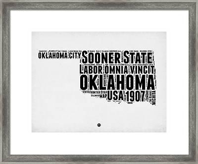 Oklahoma Word Cloud 2 Framed Print by Naxart Studio
