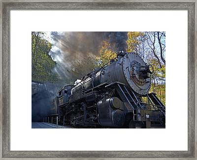 Old 734 Locomotive Train On The Western Maryland Scenic Railroad Framed Print by Brendan Reals