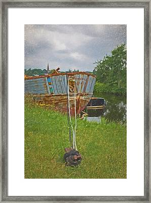 Old Barge In For Scrapping Framed Print by John Groves