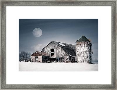 Old Barn And Winter Moon - Snowy Rustic Landscape Framed Print by Gary Heller