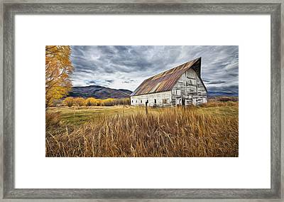 Old Barn In Steamboat,co Framed Print by James Steele