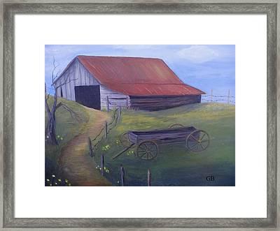 Old Barn On Hill Framed Print by Glenda Barrett
