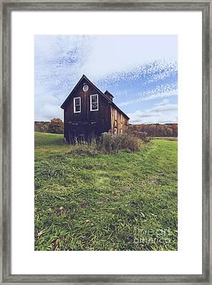 Old Barn Out In A Field Framed Print by Edward Fielding