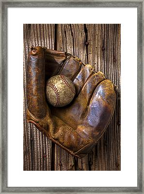 Old Baseball Mitt And Ball Framed Print by Garry Gay