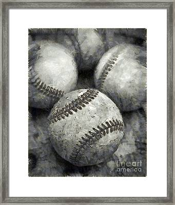 Old Baseballs Pencil Framed Print by Edward Fielding