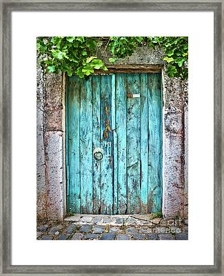 Old Blue Door Framed Print by Delphimages Photo Creations