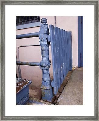 Old Blue Gate Framed Print by Anna Villarreal Garbis