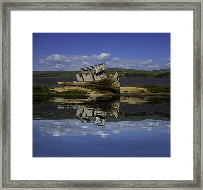 Old Boat Reflection Framed Print by Garry Gay