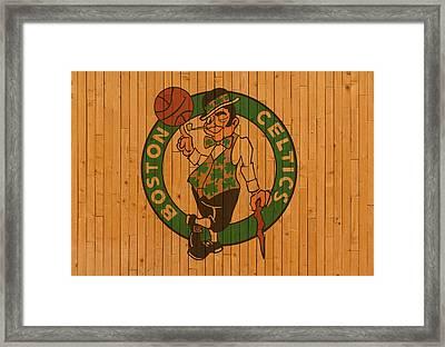 Old Boston Celtics Basketball Gym Floor Framed Print by Design Turnpike