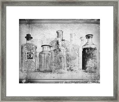 Old Bottles With Texture  Bw Framed Print by Barbara Henry