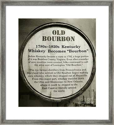 Old Bourbon Framed Print by Mel Steinhauer