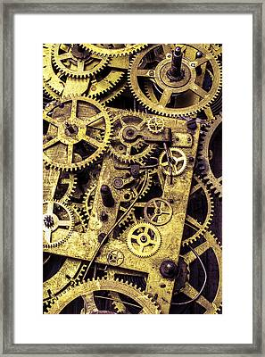 Old Brass Gears Close Up Framed Print by Garry Gay