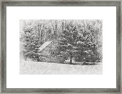 Old Cabin In Winter Framed Print by Maria Dryfhout
