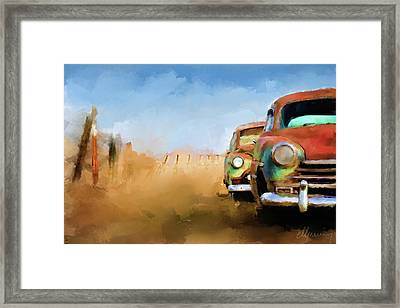 Old Cars Rusting Painting Framed Print by Michael Greenaway