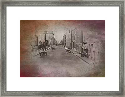 Old Chicago 01 Street View Textured Framed Print by Thomas Woolworth