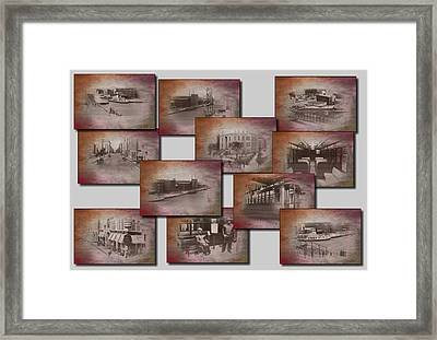 Old Chicago Collage Textured Framed Print by Thomas Woolworth