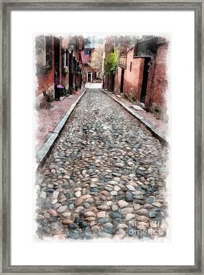 Old Cobblestone Streets Of Boston Framed Print by Edward Fielding