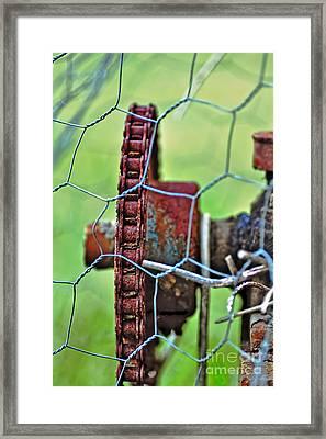 Old Cog Wheel Framed Print by Kaye Menner