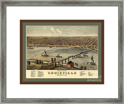 Old Collectable Poster Map Of Louisville Kentucky Framed Print by Pd
