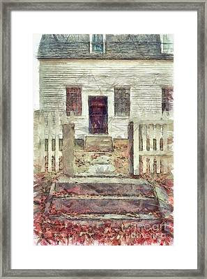 Old Colonial Home Shaker Village Pencil Framed Print by Edward Fielding