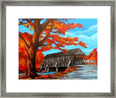 Old Covered Bridge In The Fall Framed Print by John Malone