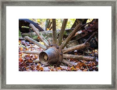 Old Decaying Wagon Wheel Framed Print by Tom Mc Nemar