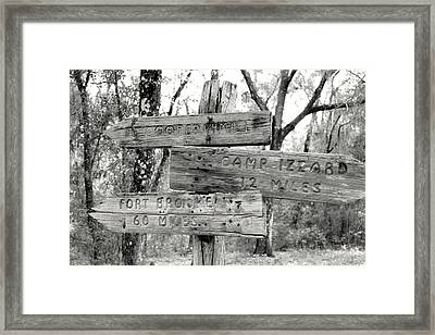Old Directional Signs At Fort Cooper  Framed Print by Debra Forand