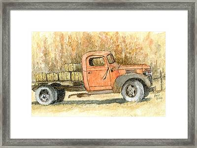 Old Dodge Truck In Autumn Framed Print by David King