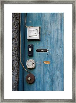 Old Door Bells Framed Print by Carlos Caetano