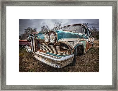 Old Edsel Framed Print by Debra and Dave Vanderlaan