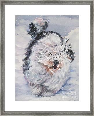 Old English Sheepdog  Framed Print by Lee Ann Shepard